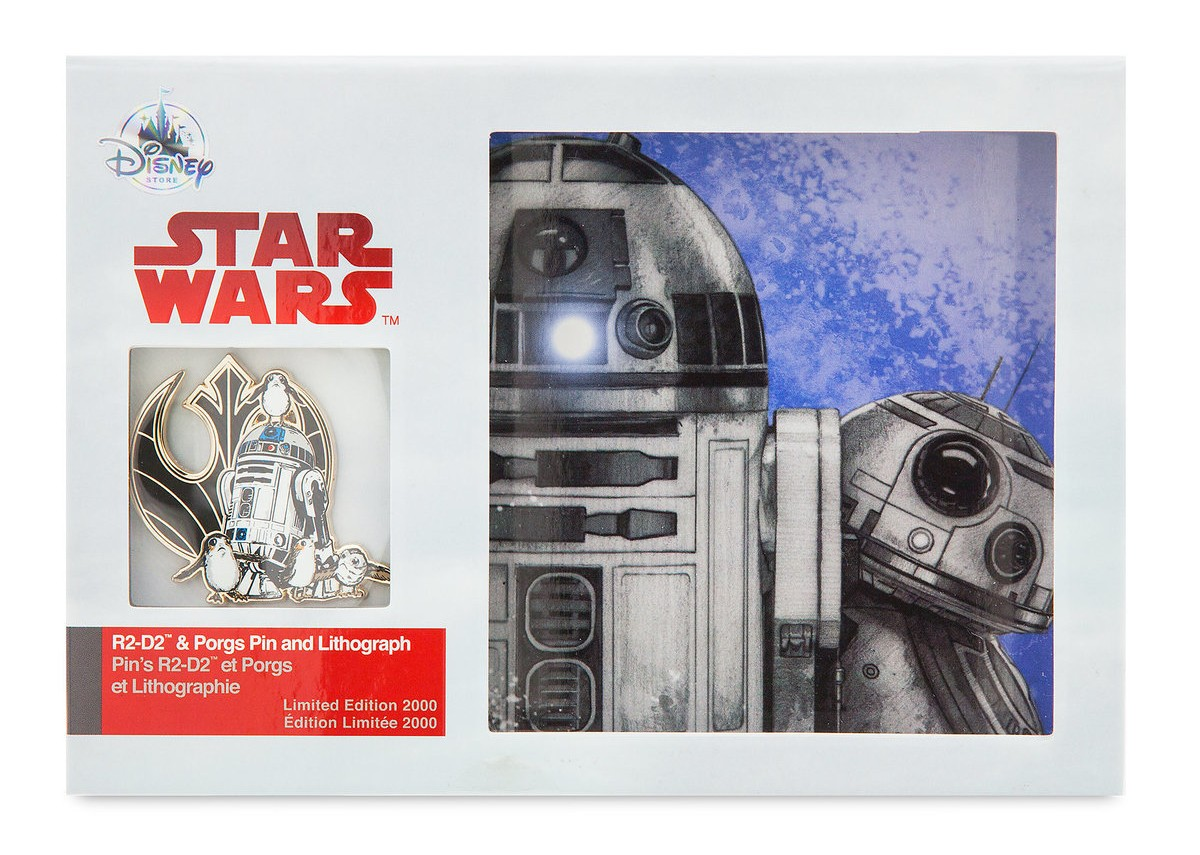 TLJ R2-D2 and Porgs Pin and Lithograph Set 1