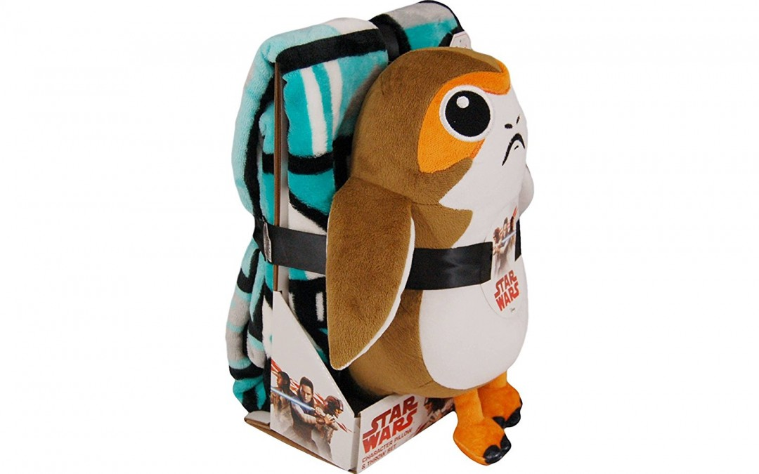 New Last Jedi Porg Throw Blanket & Pillow Buddy Set available on Amazon.com