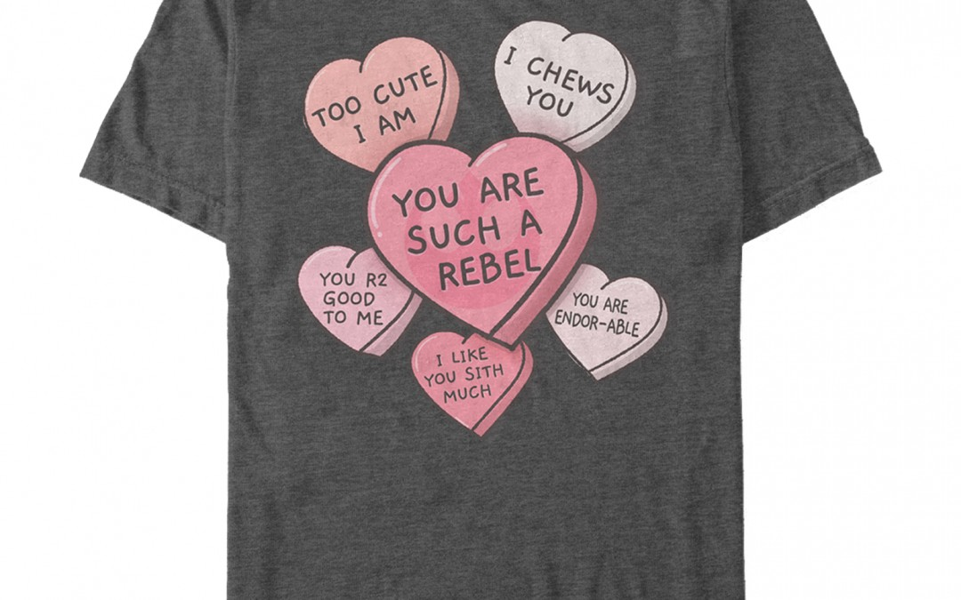 New Star Wars Men's Galactic Candy Hearts Valentine's Day T-Shirt in stock!