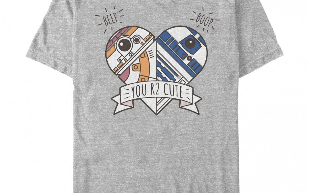 New Force Awakens Valentine's Day Cute Droid Heart T-Shirt now in stock!