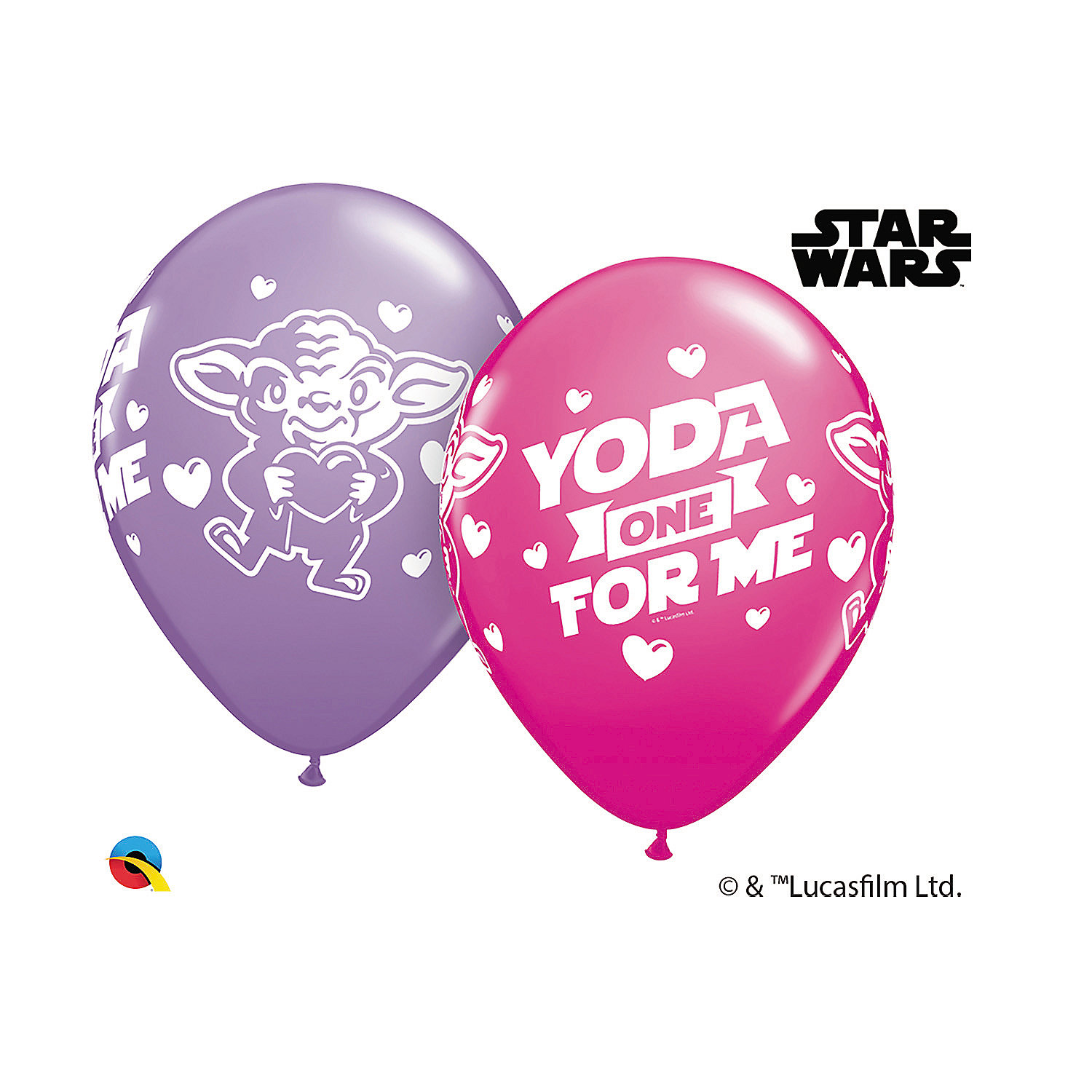 "SW ""Yoda One for Me"" Valentine's Day Latex Balloon Assortment Set"