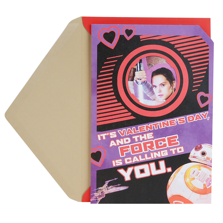 TLJ Rey and BB-8 Valentine's Day Pop-Up Card 1