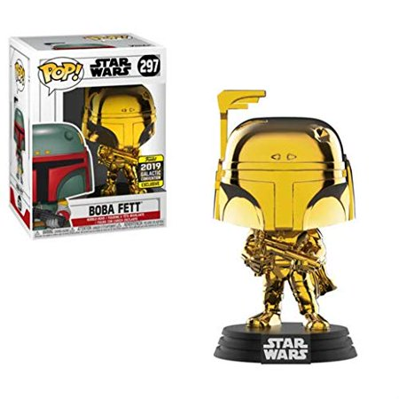 New Star Wars Funko Boba Fett Gold Chrome Bobble Head Toy available now!
