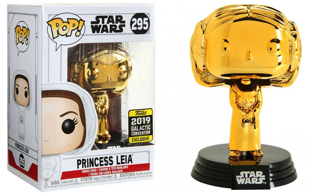 New Star Wars Funko Princess Leia Gold Chrome Bobble Head Toy available!