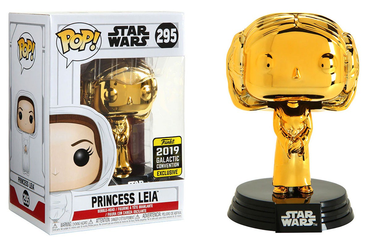 SW FP Princess Leia Gold Chrome Bobble Head Toy