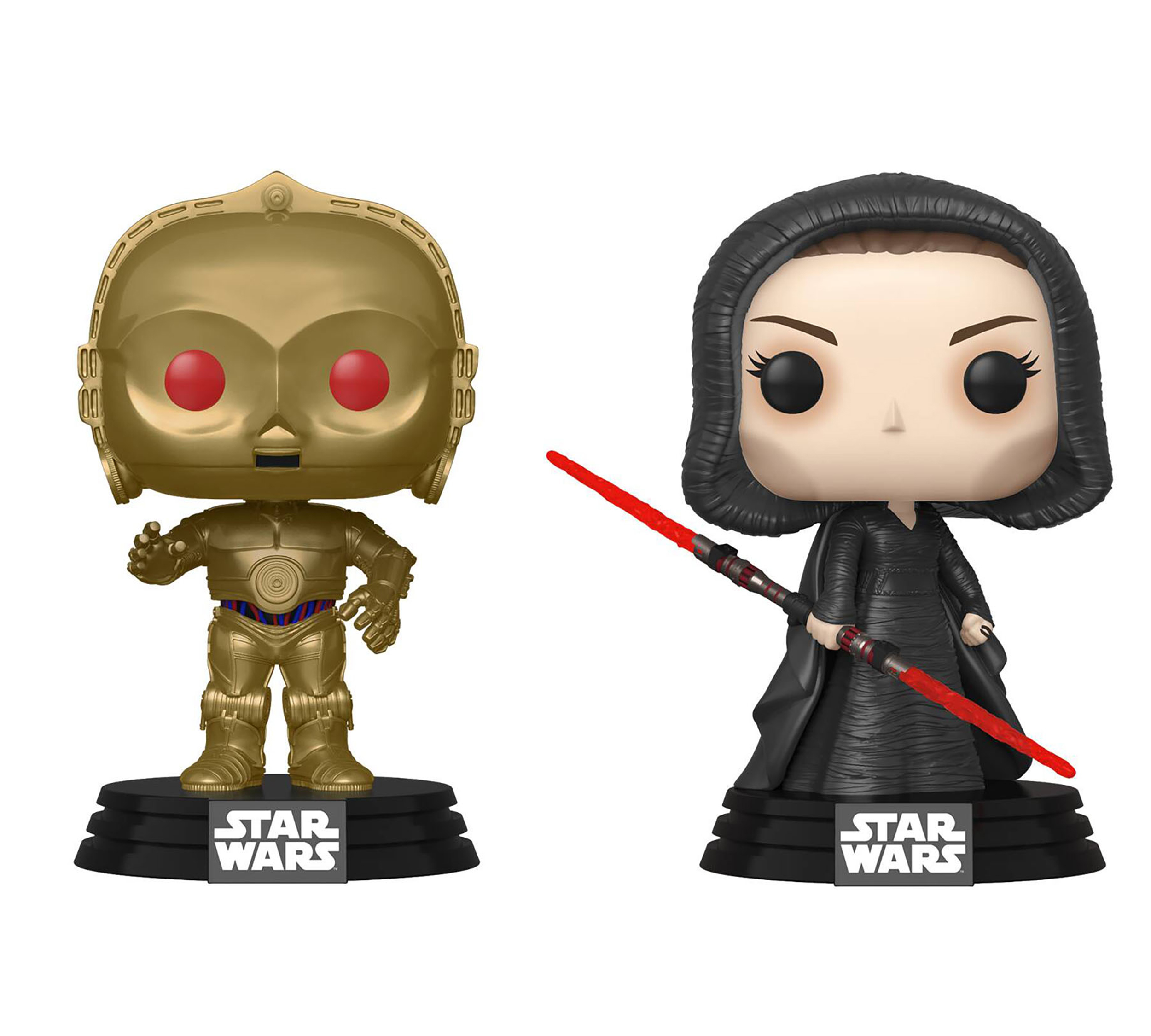 TROS Dark Rey and C-3PO (Red Eyes) Bobble Head Toy 2-Pack 1