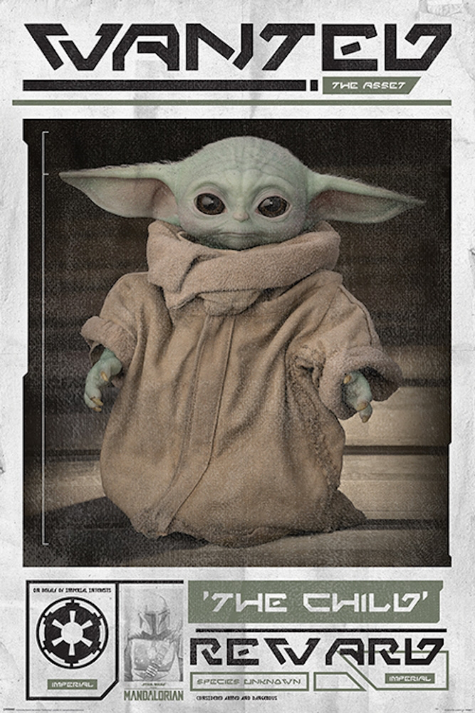 New The Mandalorian Baby Yoda (The Child) Wanted Poster ...