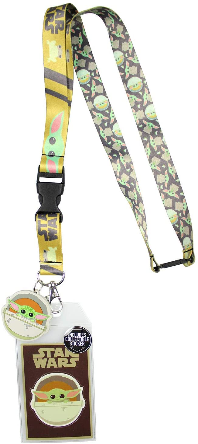 TM The Child Lanyard ID Holder with Rubber Charm and Collectible Sticker Set 1