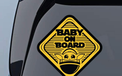 New The Mandalorian Baby On Board Large Vinyl Decal Stickers 2-Pack available!