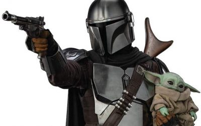 New The Mandalorian Mando (Din Djarin) with Child Life Size Cardboard Standee available!