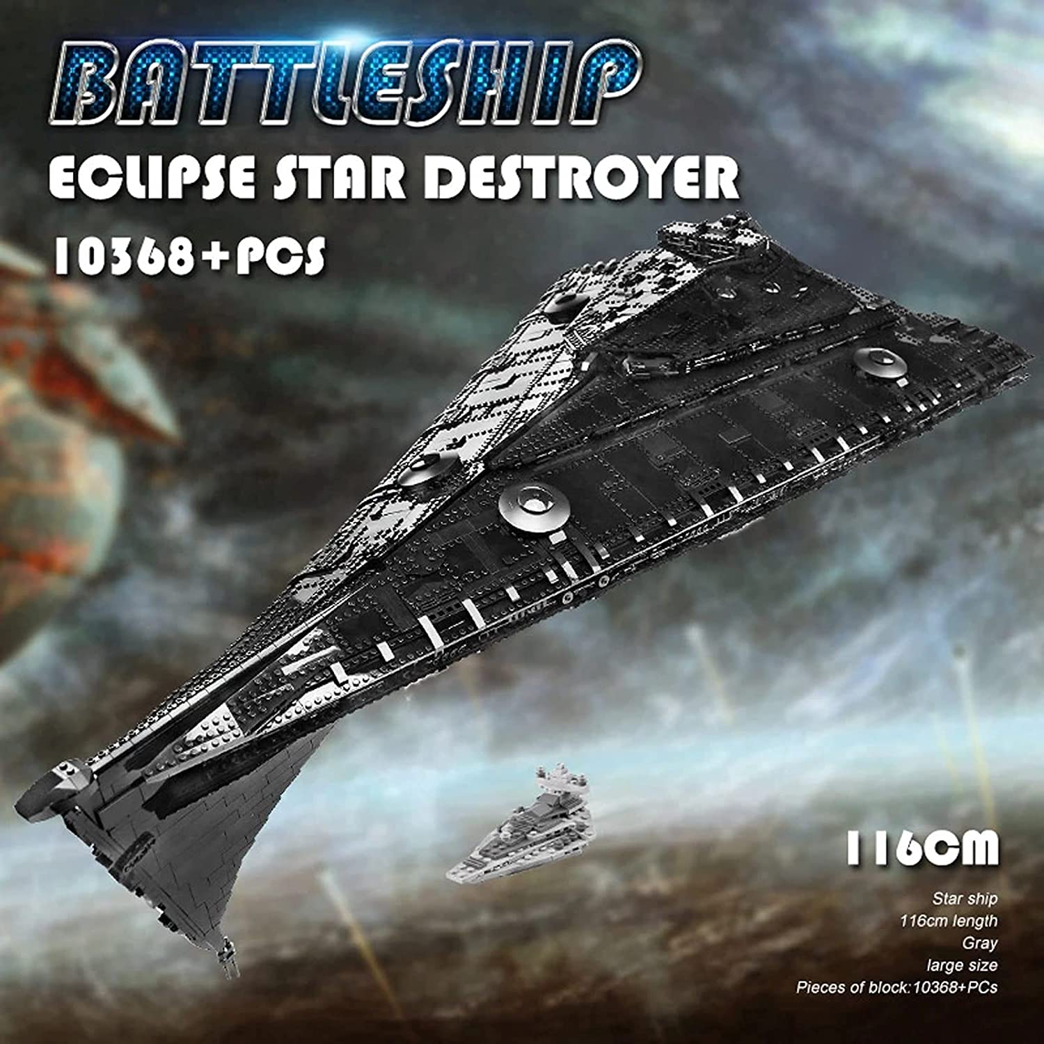 SW First Order Eclipse-Class Dreadnought Star Destroyer Lego Building Kit 3