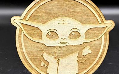 New The Mandalorian The Child (Grogu) Wood Engraved Coasters Set available!