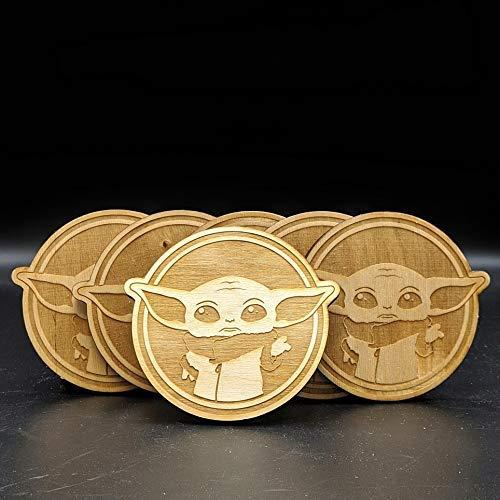 TM The Child (Grogu) Wood Engraved Coasters Set 2
