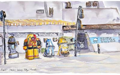 New Galaxy's Edge Droid Depot Theme Park Art Print available!