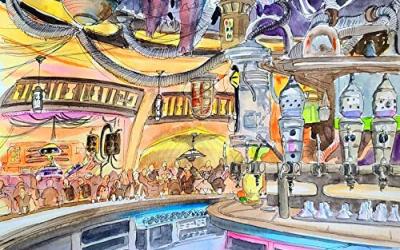 New Galaxy's Edge Oga's Cantina Theme Park Art Print available!